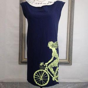 Clockwork Gears Dresses - Girl Riding Bike Tee Shirt Shift Dress sz L